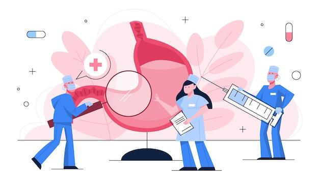 Stomaco concetto di trattamento. esame di salute, dottore intorno a un grosso organo interno. idea di uno stile di vita sano.