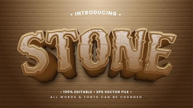 Effetto di stile del testo in pietra 3d. stile di testo dell'illustratore modificabile.