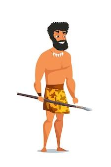 Uomo dell'età della pietra con lancia, primitivo antico personaggio maschile.