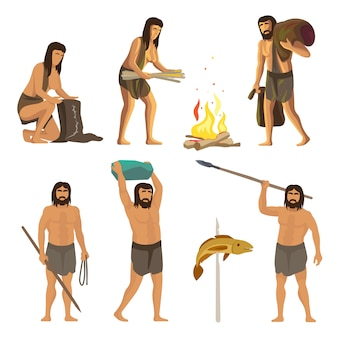 Persone dell'età della pietra con strumenti e fuoco