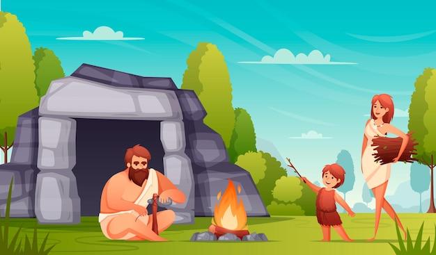 La gente preistorica dell'età della pietra vive la composizione piatta con la famiglia di cavernicoli che fa gli strumenti che tengono l'illustrazione bruciante del fuoco