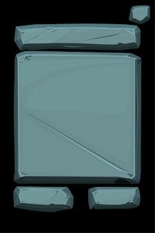 Pannello banner in pietra, vecchia interfaccia utente grigia.