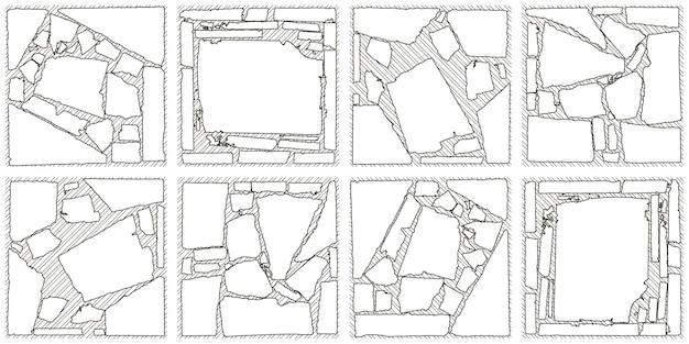Modello di linea digitale grafica in bianco e nero di pietra isolato su sfondo bianco