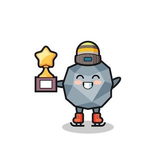 Il cartone animato di pietra come un giocatore di pattinaggio sul ghiaccio tiene il trofeo del vincitore, un design in stile carino per maglietta, adesivo, elemento logo