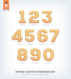 Lettere, numeri e simboli tipografici scolpiti nella pietra. illustrazione.