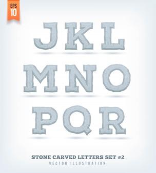 Lettere scolpite in pietra, numeri e simboli di carattere tipografico. illustrazione.