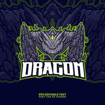 Modello di logo della mascotte del drago di pietra