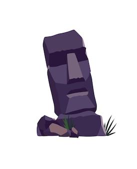 Faccia di pietra sull'isola di pasqua. antica statua moai. famoso simbolo di viaggio. turismo e vacanza oggetto tropicale. idolo di pietra