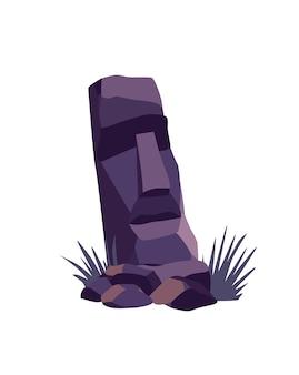 Faccia di pietra sull'isola di pasqua. antica statua moai. famoso simbolo di viaggio.