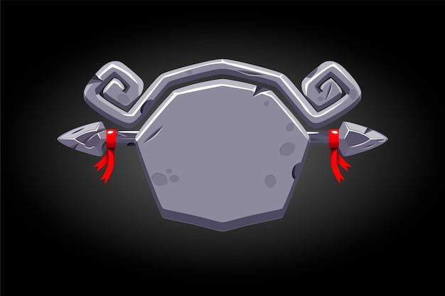 Banner rotto grigio pietra per il gioco.