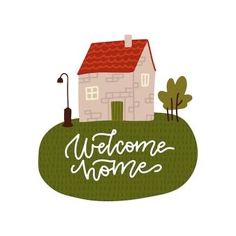 Casa in pietra in stile vintage. con auguri bentornato a casa sull'erba verde. illustrazione piatta con testo scritta.