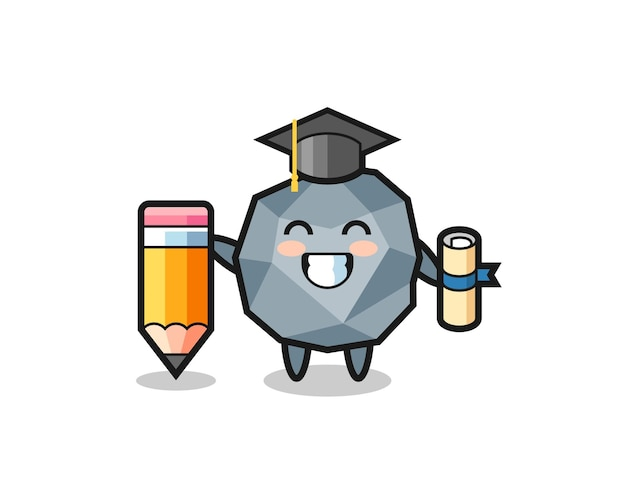 Il fumetto dell'illustrazione di pietra è la laurea con una matita gigante, un design in stile carino per maglietta, adesivo, elemento logo