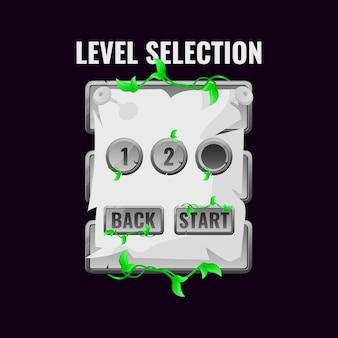 La giungla di pietra lascia l'interfaccia di selezione del livello dell'interfaccia utente per i giochi 2d