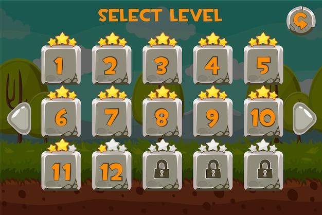 Schermata di selezione del livello di pietra. gioco impostato sullo sfondo divertente