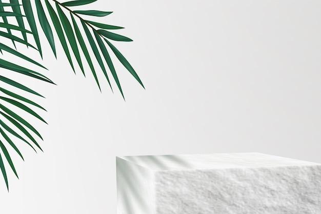 Piedistallo in pietra per dimostrazione del prodotto. sfondo pubblicitario minimalista con foglie di palma.