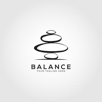 Disegno dell'illustrazione dell'emblema di vettore di benessere del centro termale del logo di bilanciamento della roccia di pietra