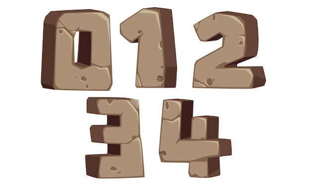 Numeri di carattere in stile pietra 0, 1, 2, 3, 4
