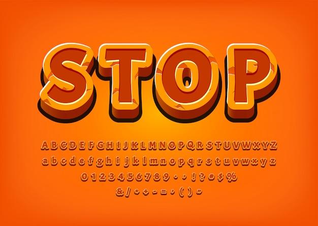 Fermi l'illustrazione di vettore di effetto del testo del logo del gioco dell'alfabeto 3d