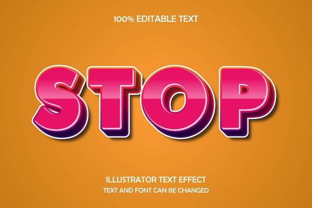 Stop, 3d modificabile effetto testo gradazione moderna stile ombra