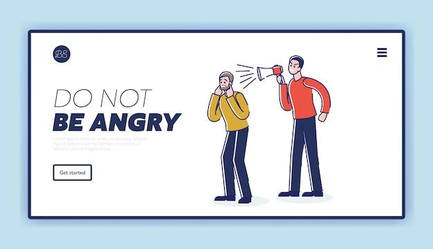 Fermare il modello di pagina di destinazione dell'aggressività con l'uomo arrabbiato che grida