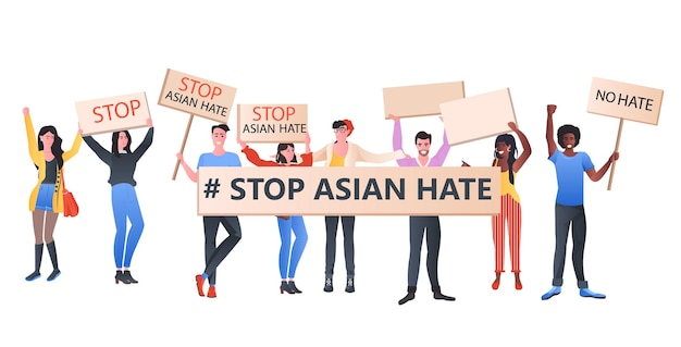 Fermare gli attivisti razzisti del mix di odio asiatico con striscioni che protestano contro il razzismo sostenere le persone durante il concetto di pandemia di coronavirus illustrazione orizzontale a figura intera