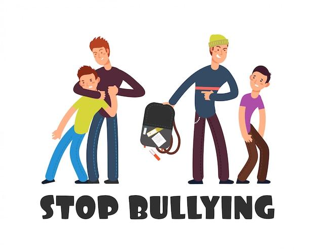 Smettere di bullismo illustrazione. triste ragazzo indifeso. persone negative e vittima.