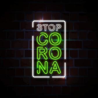 Fermare l'illustrazione del segno di stile al neon della corona