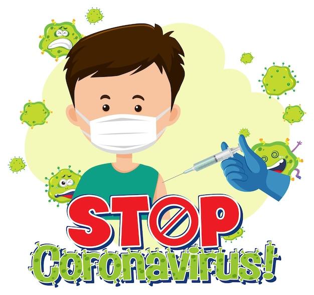 Ferma il banner di coronavirus con il paziente che indossa una maschera medica