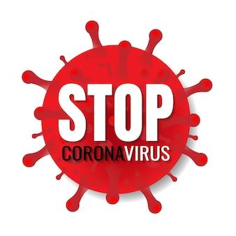Fermare il banner di coronavirus con testo su sfondo bianco con maglia sfumata
