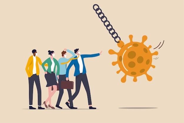 Fermare la pandemia del coronavirus covid-19 che causa crisi finanziaria, stimolo economico per aiutare a proteggere l'azienda dal concetto di bancarotta, uomini d'affari immunitari al virus si uniscono per proteggere la palla da demolizione coronavirus.