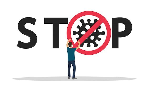 Ferma il coronavirus. virus pericoloso, pandemia. 2019-ncov.