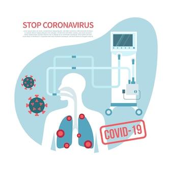 Ferma il banner vettoriale piatto del coronavirus con lo spazio della copia ventilazione meccanica torace con danni ai polmoni