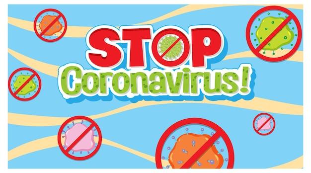 Arresta il carattere coronavirus senza banner con segno di virus