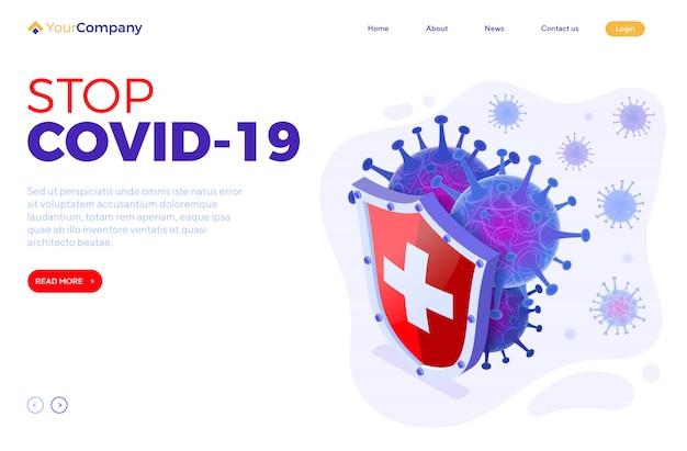 Ferma la pagina di destinazione di coronavirus Vettore Premium
