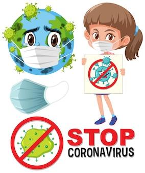 Fermare il logo del coronavirus con il personaggio dei cartoni animati della maschera che indossa la terra e la ragazza che tiene il segno del coronavirus