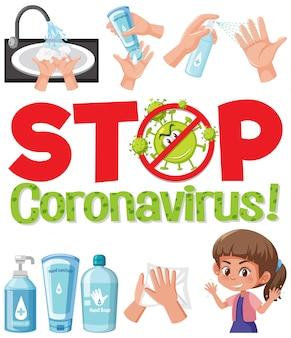 Ferma il logo del coronavirus con la mano usando prodotti disinfettanti