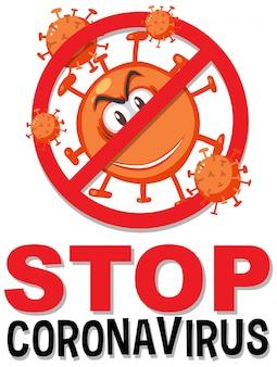 Fermare il segno prohitbit del coronavirus con il personaggio dei cartoni animati del coronavirus