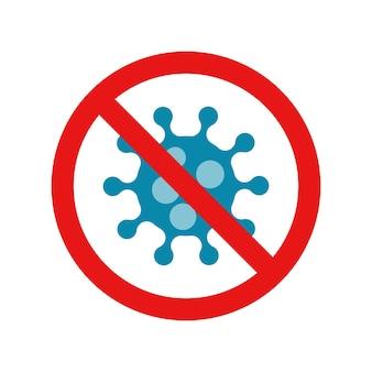 Stop coronavirus rosso proibire segno vettore corona virus simbolo batteri covid ncp
