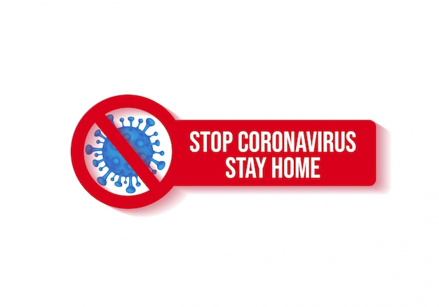Ferma il coronavirus e rimani a casa illustrazione design