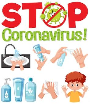 Interrompere il segno di testo del coronavirus con la mano utilizzando prodotti disinfettanti