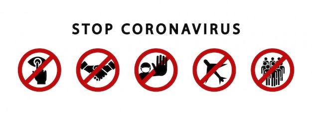 Interrompere i segnali di avvertimento di coronavirus. simbolo di divieto. quarantena di zona. virus pericoloso.