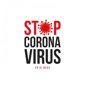 Ferma l'iscrizione al titolo covid-19. ferma il design tipografico di coronavirus con il simbolo del virus.