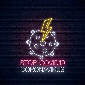 Ferma l'insegna al neon del virus covid-19 con coronavirus e il simbolo del fulmine in stile neon. icona di arresto epidemia 2019-ncov