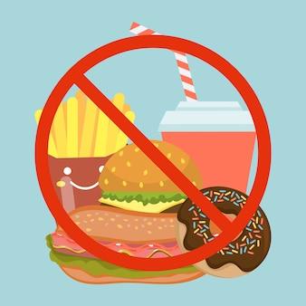 Smetti di mangiare alimenti a rapida preparazione, cattivo piatto hamburger, bibite, ciambelle e patatine fritte.