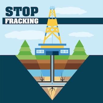 Smetti di fracking dell'estrazione dell'industria petrolifera e dell'illustrazione di produzione