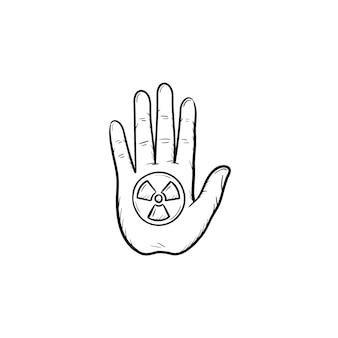 Arresti il segno della mano con l'icona disegnata a mano di scarabocchio di simbolo di radiazione ionizzante. mano di palma con illustrazione di schizzo di vettore di gesto di arresto per stampa, web, mobile e infografica isolato su priorità bassa bianca.