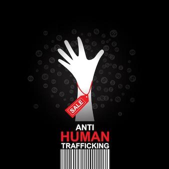 Fermare il concetto di traffico di esseri umani vendita umana. Vettore Premium