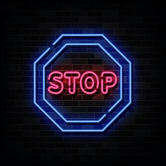 Arresti l'insegna al neon. insegna al neon del modello di progettazione