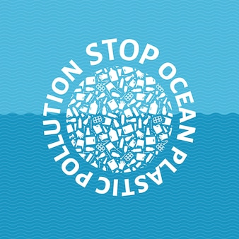 Arresti il globo del cerchio dell'illustrazione di vettore di concetto di inquinamento di plastica dell'oceano riempito di immondizia di plastica flat