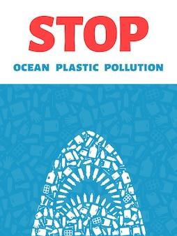 Fermare l'inquinamento da plastica dell'oceano concetto illustrazione vettoriale contorno di squalo assassino pieno di plastica